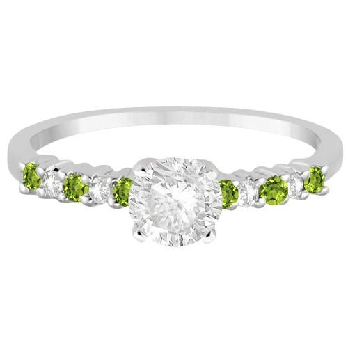 Petite Diamond & Peridot Engagement Ring 18k White Gold (0.15ct)