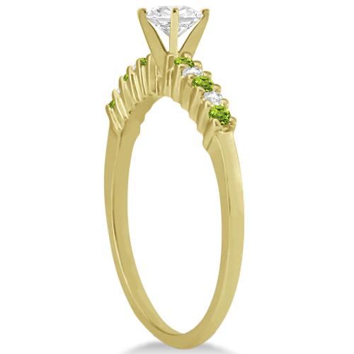 Petite Diamond & Peridot Bridal Set 14k Yellow Gold (0.35ct)