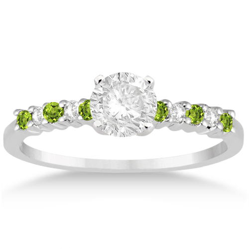 Petite Diamond & Peridot Bridal Set Palladium (0.35ct)