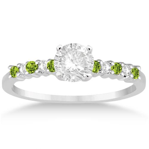 Petite Diamond & Peridot Bridal Set Platinum (0.35ct)