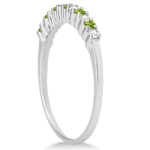 Petite Diamond & Peridot Wedding Band 18k White Gold (0.20ct)