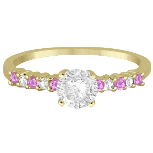 Diamond & Pink Sapphire Engagement Ring 14k Yellow Gold (0.15ct)