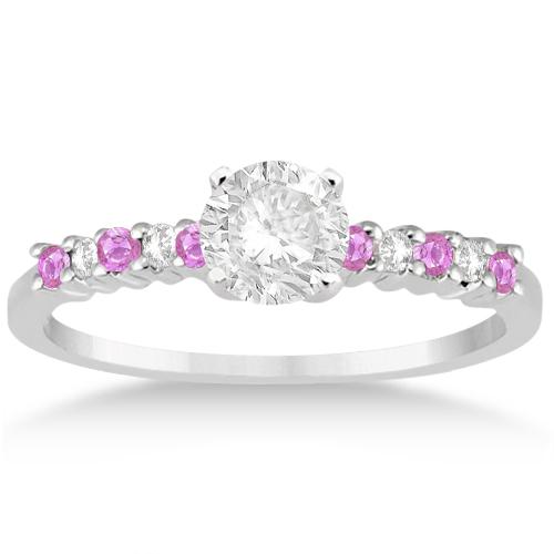 Diamond & Pink Sapphire Engagement Ring 18k White Gold (0.15ct)