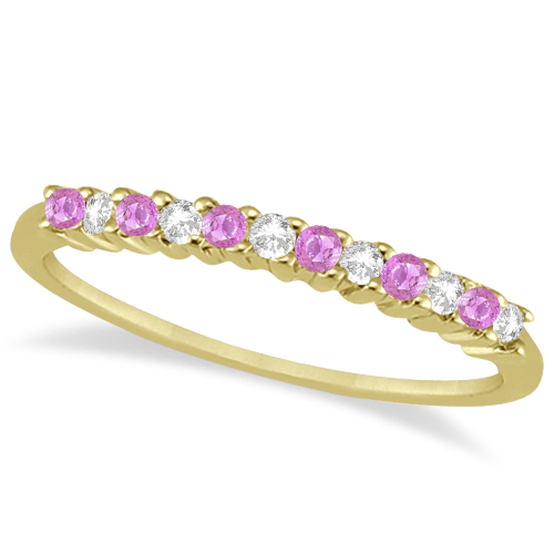 Diamond & Pink Sapphire Bridal Set 14k Yellow Gold (0.35ct)