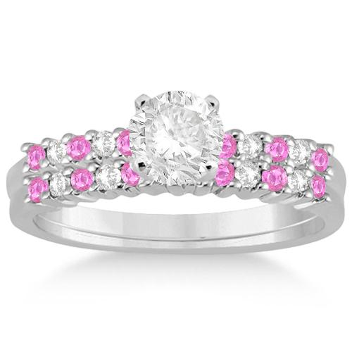 Diamond & Pink Sapphire Bridal Set 18k White Gold (0.35ct)
