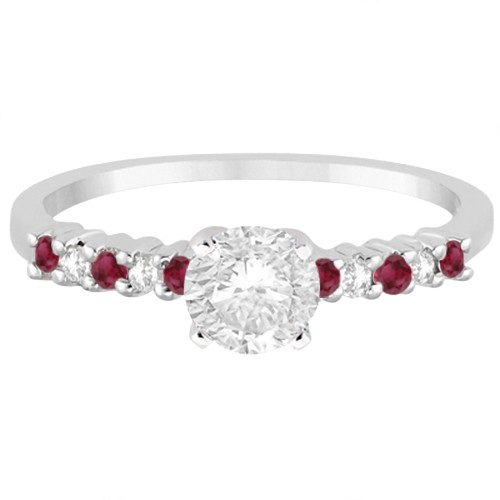 Petite Diamond & Ruby Engagement Ring 18k White Gold (0.15ct)