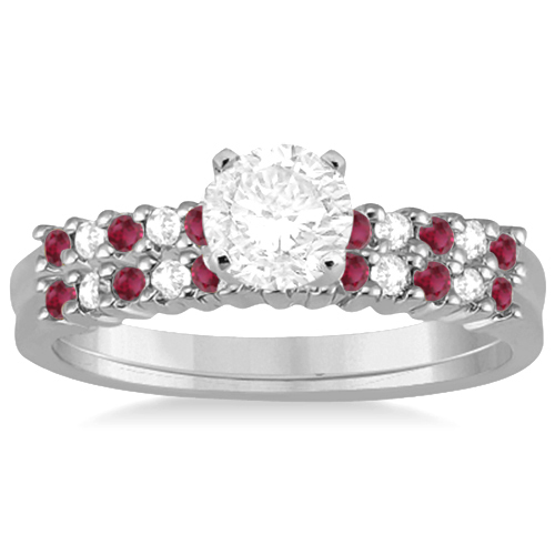 Petite Diamond & Ruby Bridal Set 14k White Gold (0.35ct)