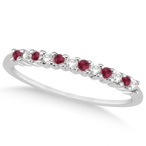Petite Diamond & Ruby Wedding Band 18k White Gold (0.20ct)