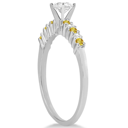 Diamond & Yellow Sapphire Engagement Ring 14k White Gold (0.15ct)