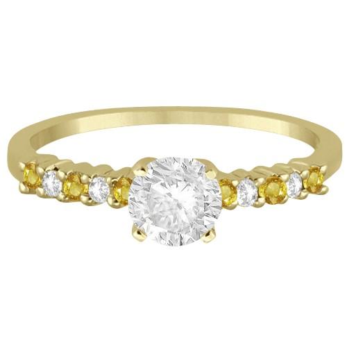 Diamond & Yellow Sapphire Engagement Ring 18k Yellow Gold (0.15ct)