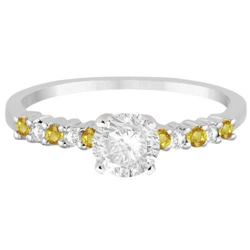 Diamond & Yellow Sapphire Engagement Ring Platinum (0.15ct)