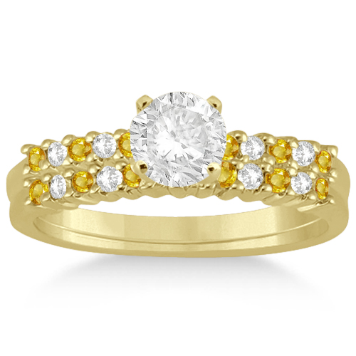 Diamond & Yellow Sapphire Bridal Set 18k Yellow Gold (0.35ct)