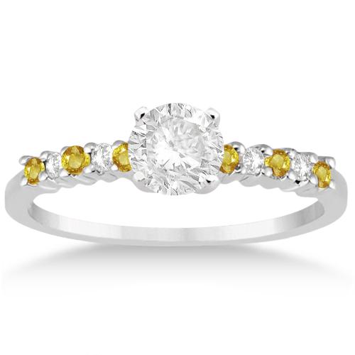 Diamond & Yellow Sapphire Bridal Set Platinum (0.35ct)