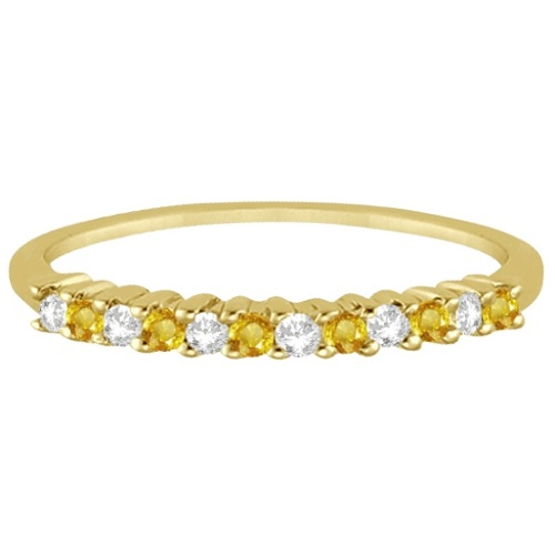 Diamond & Yellow Sapphire Wedding Band 18k Yellow Gold (0.20ct)