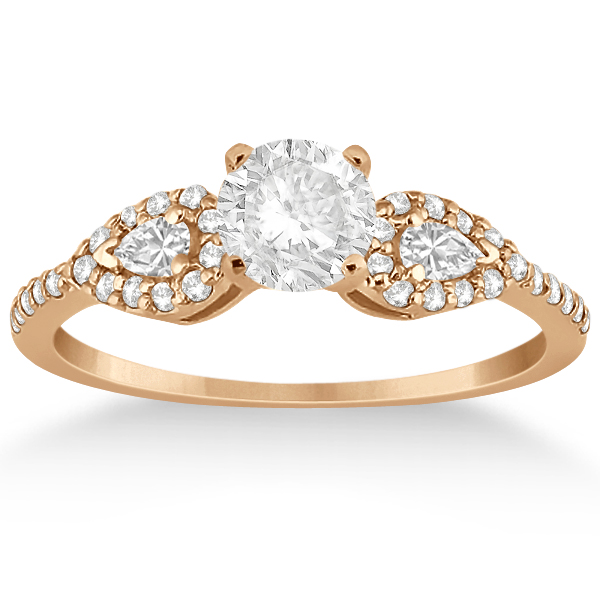 Pear Cut Side Stone Diamond Engagement Ring 18k Rose Gold (0.33ct)