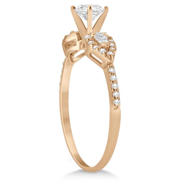 Pear Shaped Diamond Engagment Ring & Band 14k Rose Gold (0.46ct)