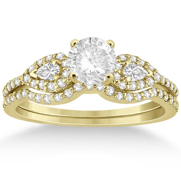 Pear Shaped Diamond Engagment Ring & Band 14k Yellow Gold (0.46ct)
