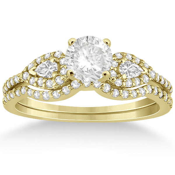 Pear Shaped Diamond Engagment Ring & Band 18k Yellow Gold (0.46ct)
