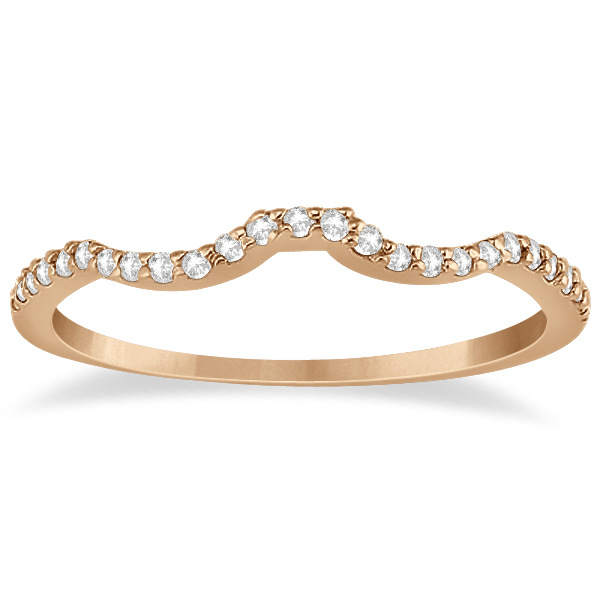 Half Eternity Contour Wedding Band for Women 14k Rose Gold (0.13ct)