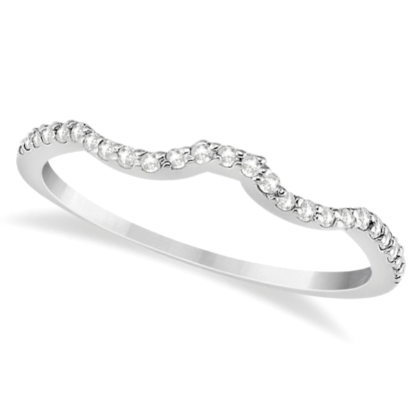 Half Eternity Band Bands: Half Eternity Curved Wedding Band For Women 14k White Gold