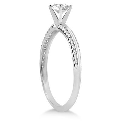 Petite Diamond Engagement Ring Setting 14k White Gold (0.25ct)