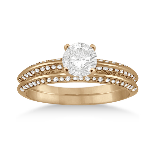 Knife Edge Engagement Ring & Wedding Band Set 14k Rose Gold (0.52ct)