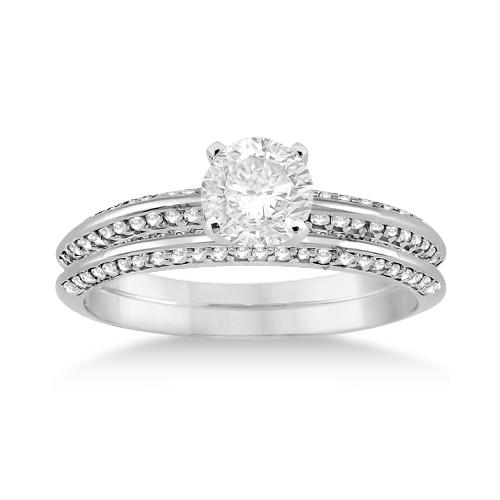 Knife Edge Engagement Ring & Wedding Band Set Platinum (0.52ct)