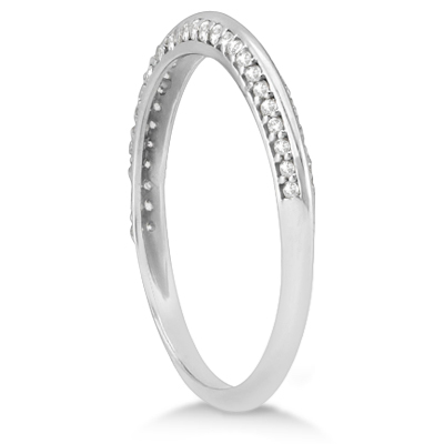 Knife Edged Micro Pave Diamond Wedding Band 14k White Gold (0.27ct)