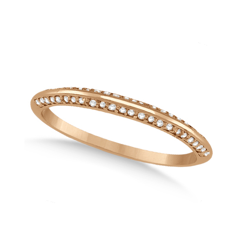 Knife Edged Micro Pave Diamond Wedding Band 18k Rose Gold (0.27ct)