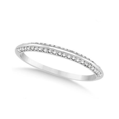 Knife Edged Micro Pave Diamond Wedding Band 18k White Gold (0.27ct)