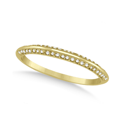 Knife Edged Micro Pave Diamond Wedding Band 18k Yellow Gold (0.27ct)