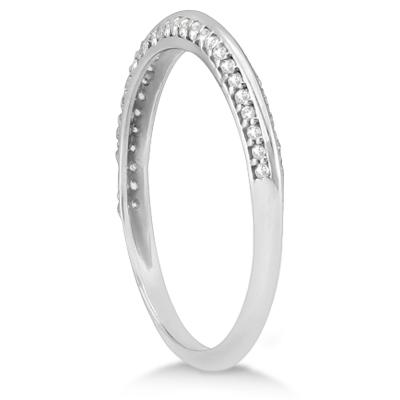Knife Edged Micro Pave Diamond Wedding Band Platinum (0.27ct)