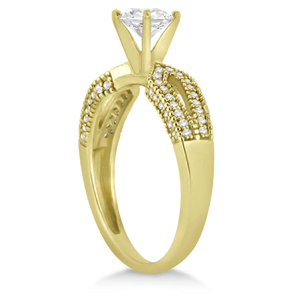 Solitaire Split Shank Diamond Engagement Ring 14k Yellow Gold (0.18ct)