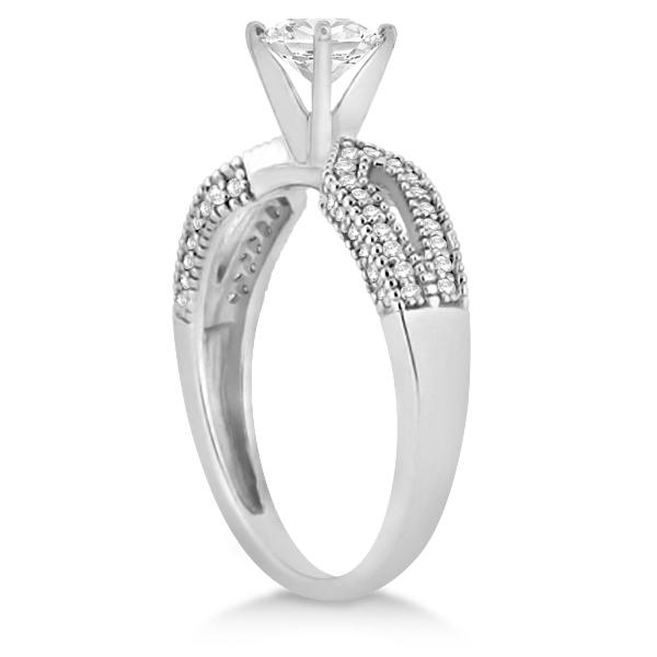 Split Shank Diamond Engagment Ring & Band Palladium (0.36ct)