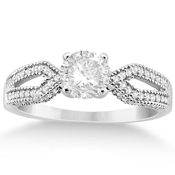 Split Shank Diamond Engagment Ring & Band Platinum (0.36ct)