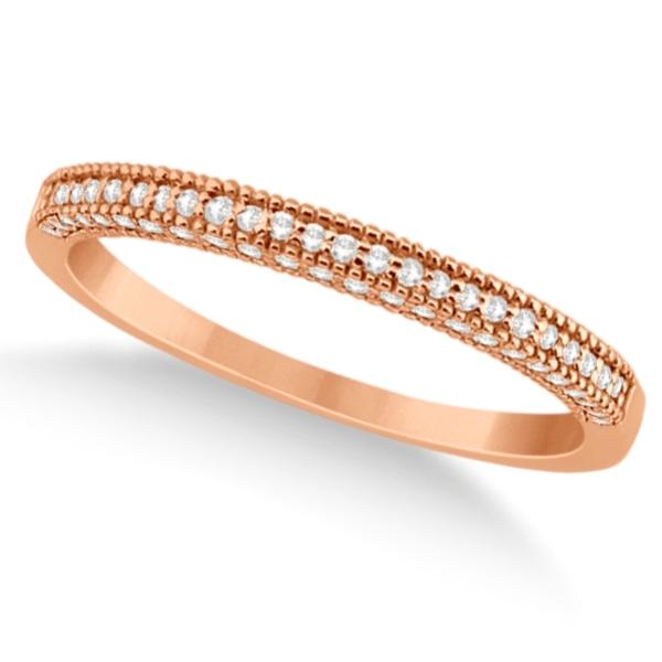 Micro Pave Milgrain Edge Diamond Wedding Ring 14k Rose Gold (0.18ct)