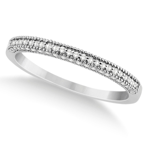 Micro Pave Milgrain Edge Diamond Wedding Ring 14k White Gold (0.18ct)