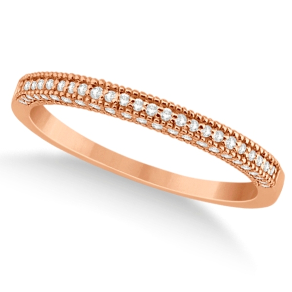 Micro Pave Milgrain Edge Diamond Wedding Ring 18k Rose Gold (0.18ct)