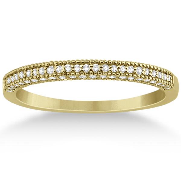Micro Pave Milgrain Edge Diamond Wedding Ring 18k Yellow Gold (0.18ct)