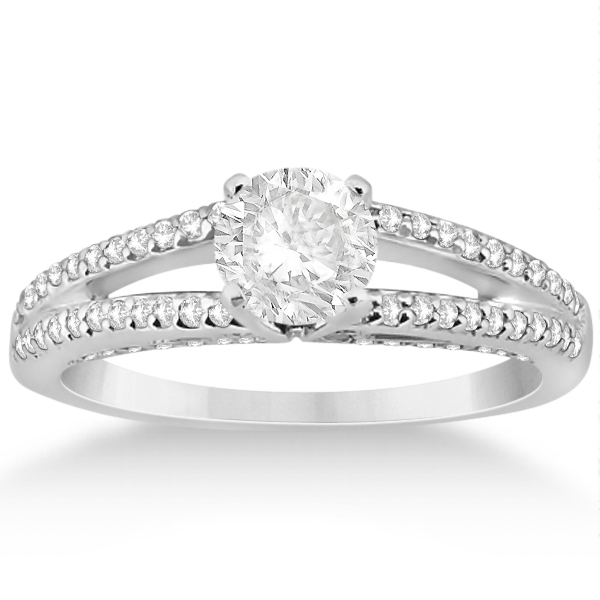 Modern Split Shank Diamond Engagement Ring 14k  White Gold (0.34ct)
