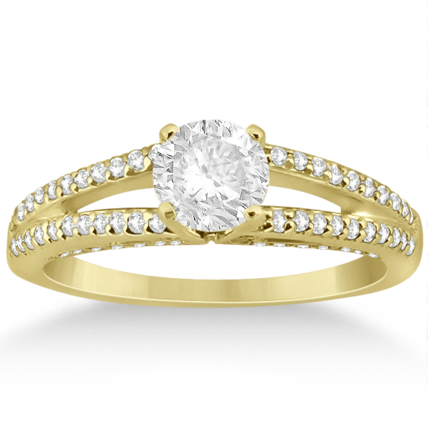 Modern Split Shank Diamond Engagement Ring 14k Yellow Gold (0.34ct)