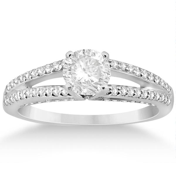 Modern Split Shank Diamond Engagement Ring 18k White Gold (0.34ct)