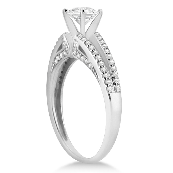 Modern Split Shank Diamond Engagement Ring Palladium (0.34ct)