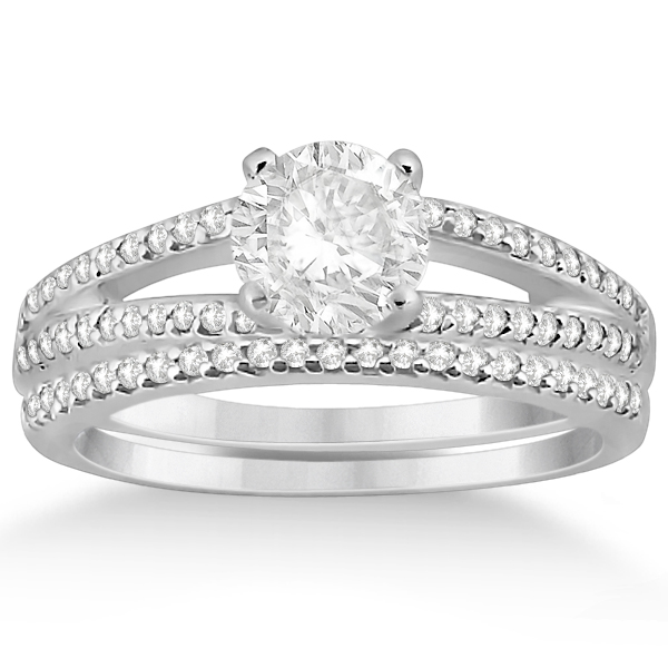 Split Shank Diamond Engagement Ring & Wedding Band 14k White Gold