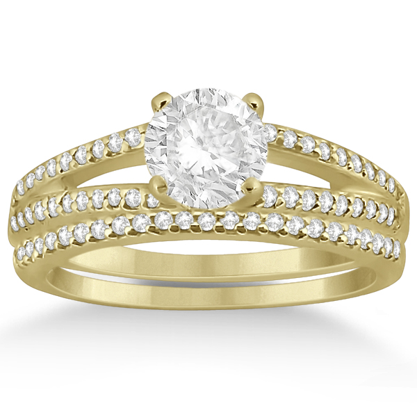 Split Shank Diamond Engagement Ring & Wedding Band 18k Yellow Gold