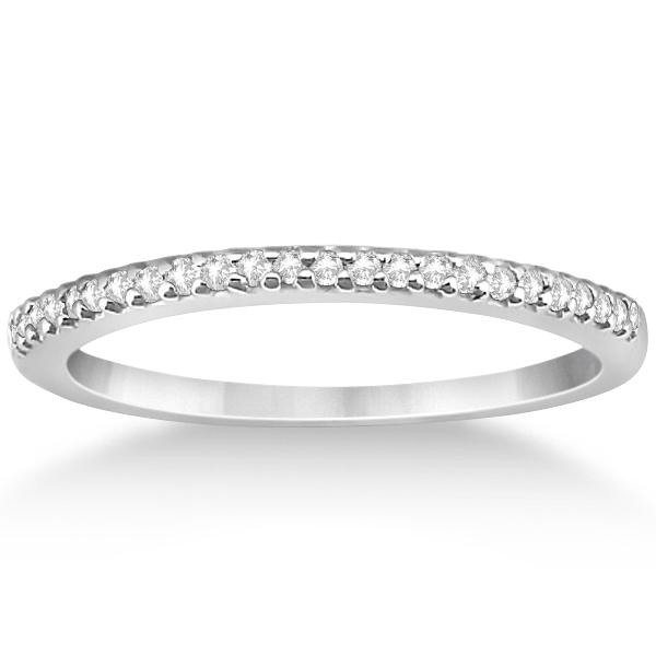 Modern Semi-Eternity Diamond Wedding Band 14k White Gold (0.17ct)