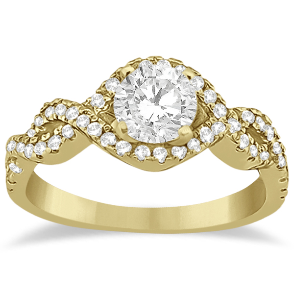 Diamond Halo Infinity Engagement Ring In 14K Yellow Gold (0.39ct)