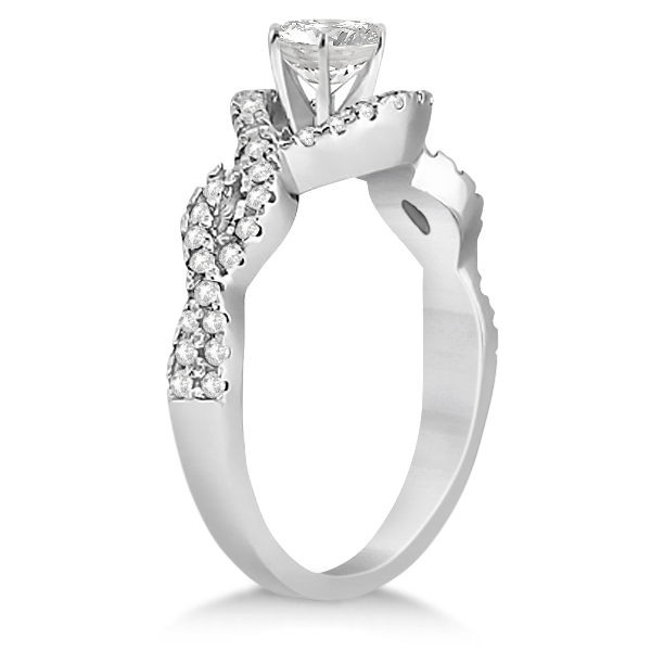 Diamond Halo Infinity Engagement Ring In 18K White Gold (0.39ct)