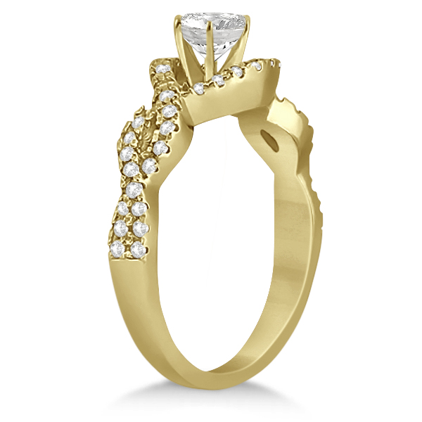 Diamond Halo Infinity Engagement Ring In 18K Yellow Gold (0.39ct)