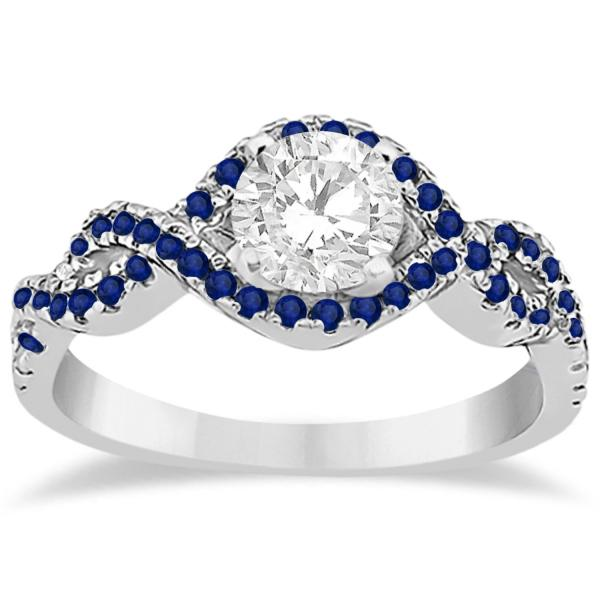 Blue Sapphire Halo Infinity Engagement Ring In Platinum (0.39ct)